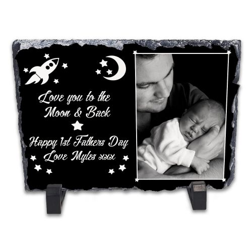 Personalised Love You To The Moon & Back - Happy 1st Fathers Day Rock Slate Photo Frame - Rectangle